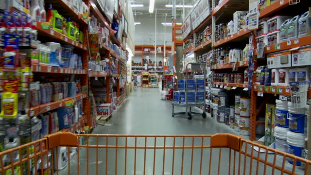 vídeos y material grabado en eventos de stock de ms pov shopping cart moving through aisles of retail store / atlanta, georgia, usa - ferreteria