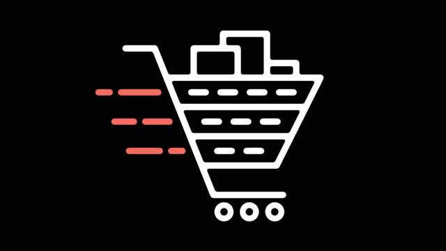 Shopping Cart Software Line Icon Animation with Alpha