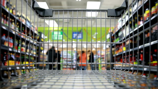 vídeos de stock e filmes b-roll de shopping cart - corredor objeto manufaturado