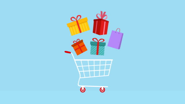 shopping cart with gifts animation, alpha matte. - shopping bag stock videos & royalty-free footage