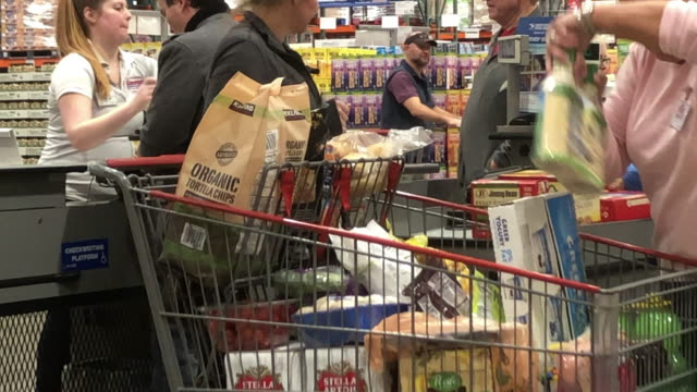 shopping carts at costco store in north georgia, usa - checkout stock videos & royalty-free footage