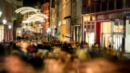 Shopping crowd in Heidelberg, Germany, at Christmas