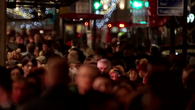 shopping crowd winter - nightlife stock videos & royalty-free footage