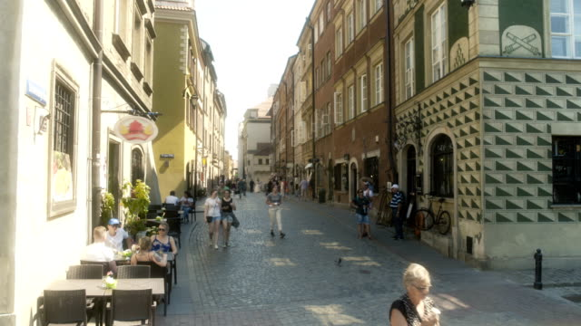 shopping district old town warsaw poland - old town stock videos & royalty-free footage