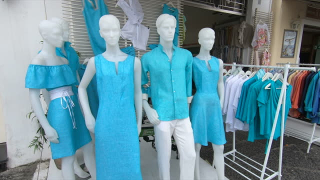 shopping for clothes on mannequins in capri island, italy, europe, mediterranean sea. - slow motion - mannequin stock videos & royalty-free footage