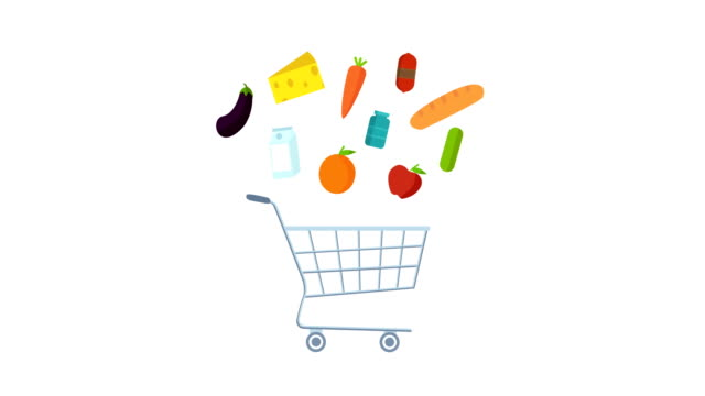 shopping, grocery products stock, animation alpha matte. - shopping trolley stock videos & royalty-free footage