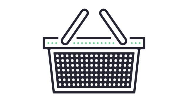 vídeos de stock, filmes e b-roll de animação do ícone de compras - mercado espaço de venda no varejo