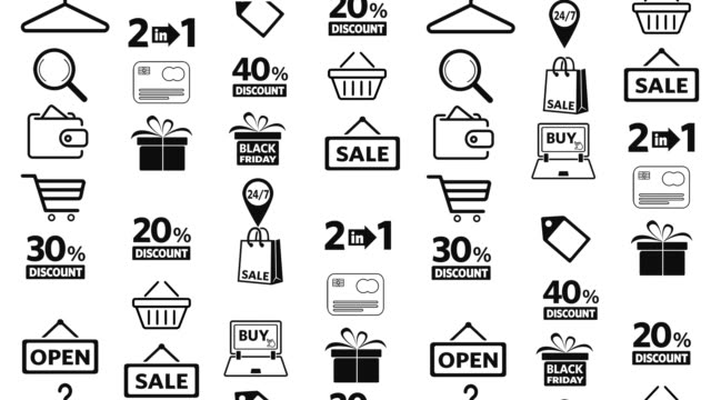 shopping icons set - basket stock videos & royalty-free footage