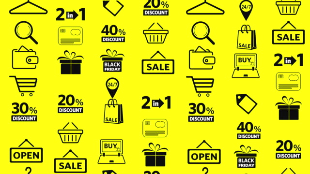shopping icons set - black friday stock videos & royalty-free footage