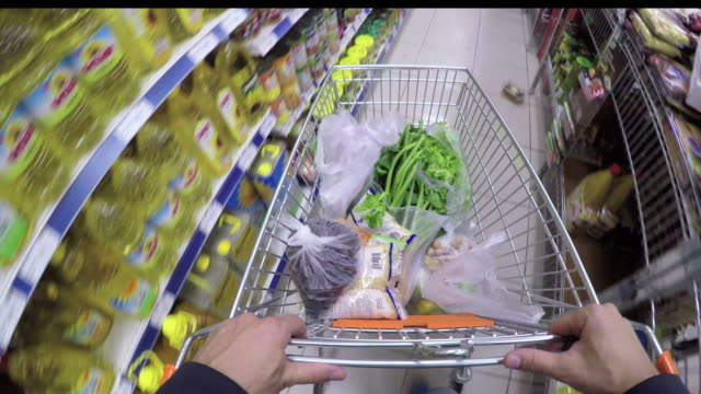 pov: shopping in a supermarket - shopping trolley stock videos and b-roll footage