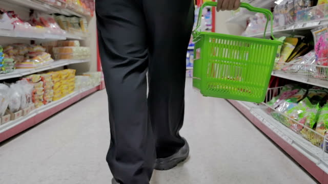 Shopping in supermarket,Slow motion