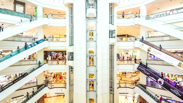 Shopping Mall Escalator,Time Lapse