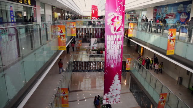 ms shopping mall interior / xi'an, shaanxi, china - western script stock videos & royalty-free footage