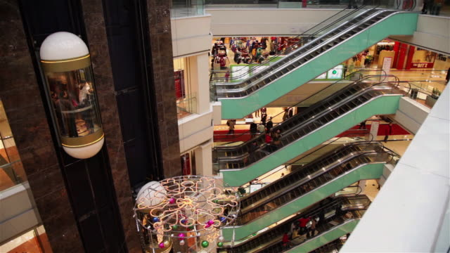 vidéos et rushes de ms shopping mall interior / xi'an, shaanxi, china - centre commercial