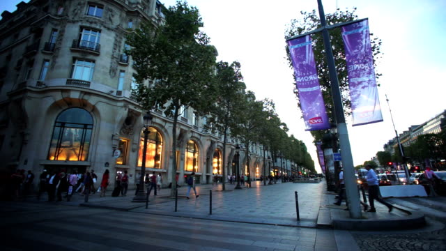 shopping on avenue des champs elysees, paris france - avenue des champs elysees stock videos & royalty-free footage