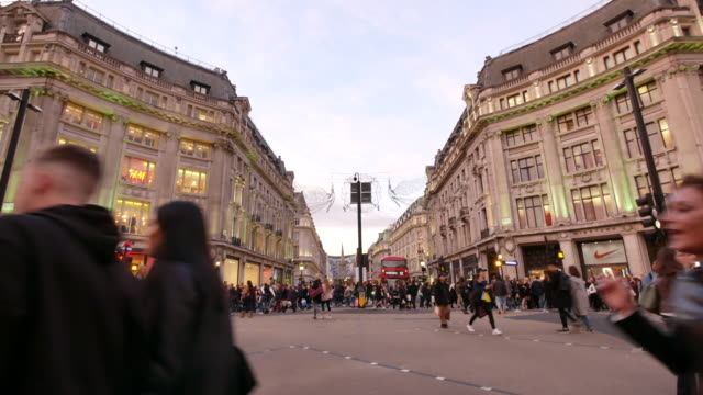 4k shopping on oxford street christmas, london - pedestrian stock videos & royalty-free footage