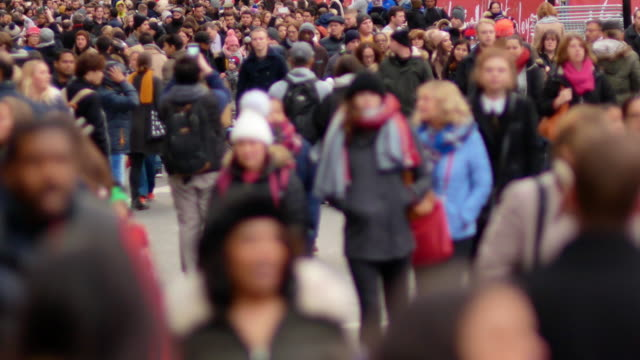 4k shopping on oxford street christmas, london - crowd of people stock videos & royalty-free footage