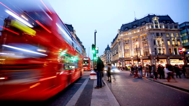 Negozi di Oxford street, Londra, time lapse