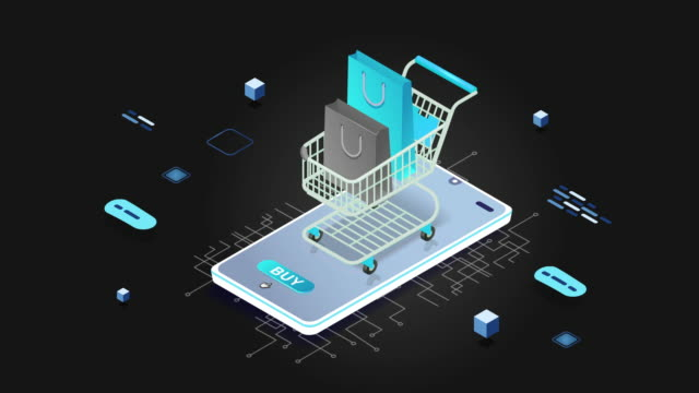 4k shopping on the phone with cart icon animation - infographic stock videos & royalty-free footage