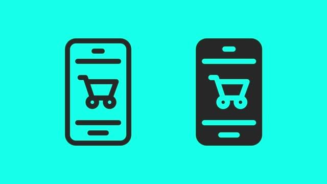 vídeos de stock e filmes b-roll de shopping online - vector animate - carrinho de compras