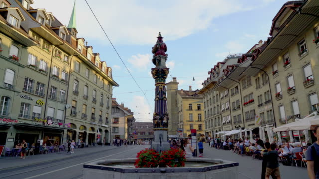 Shopping Street with Clock Tower at Bern City