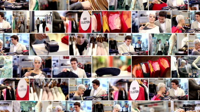shopping. video wall. - tile stock videos & royalty-free footage