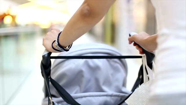 shopping with my newborn - pushchair stock videos and b-roll footage