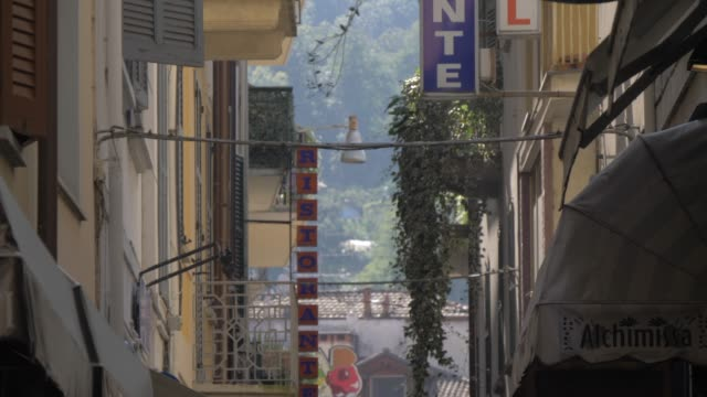 shops and people, stresa, lake maggiore, piedmont, italian lakes, italy, europe - balcony stock videos & royalty-free footage