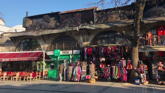 shops at the entrance of the blue mosque in istanbul's sultanahmet district on march 9 2018 in istanbul turkey - sultanahmet district stock videos and b-roll footage