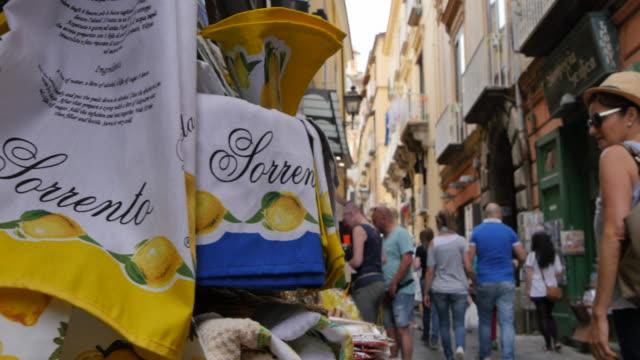 Shops on narrow street, Sorrento, Costiera Amalfitana (Amalfi Coast), UNESCO World Heritage Site, Campania, Italy, Europe