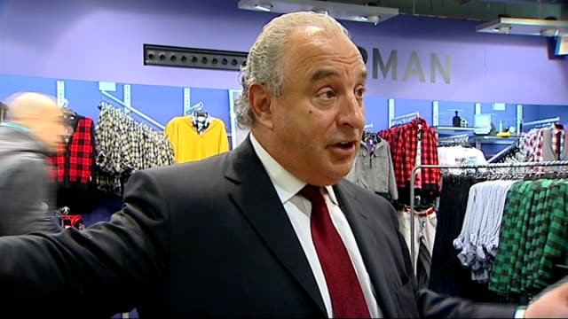 shops suffer fall in profits as recession hits: interview sir philip green; england: london: oxford street: top shop / top man stores: int sir philip... - other stock videos & royalty-free footage
