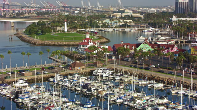 aerial shoreline aquatic park in long beach, kalifornien - jachthafen stock-videos und b-roll-filmmaterial