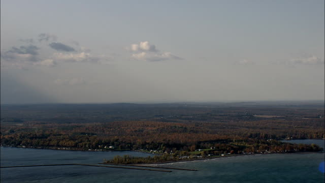 shoreline around fair haven - aerial view - new york,  cayuga county,  united states - cayuga stock videos & royalty-free footage