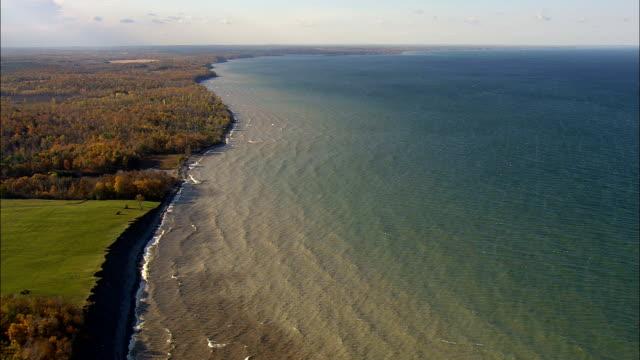 shoreline near oswego - aerial view - new york,  cayuga county,  united states - cayuga stock videos & royalty-free footage