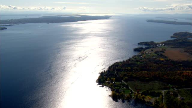 shoreline near plattsburgh  - aerial view - new york,  clinton county,  united states - plattsburgh stock videos and b-roll footage