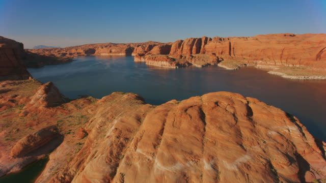aerial shores of lake powell, usa - lago powell video stock e b–roll