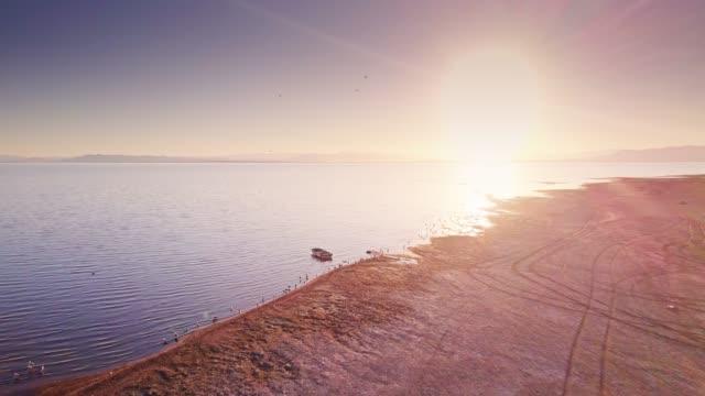 shores of the salton sea at sunset - drone shot - faglia di sant'andrea video stock e b–roll