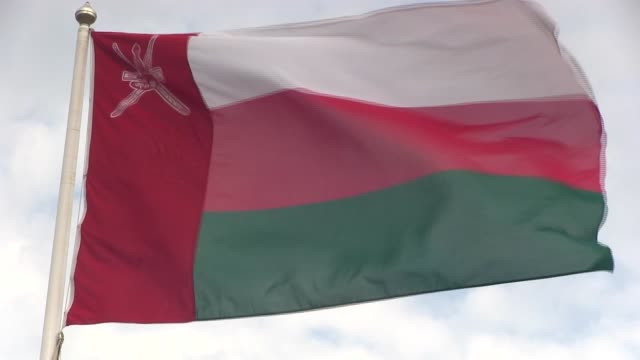 short shot of flag of the sultanate of oman followed by two zoom backs until wide shot position - oman flag stock videos and b-roll footage