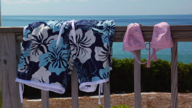 CU, Shorts and bikini top hanging on wooden railing, ocean in background, North Truro, Massachusetts, USA