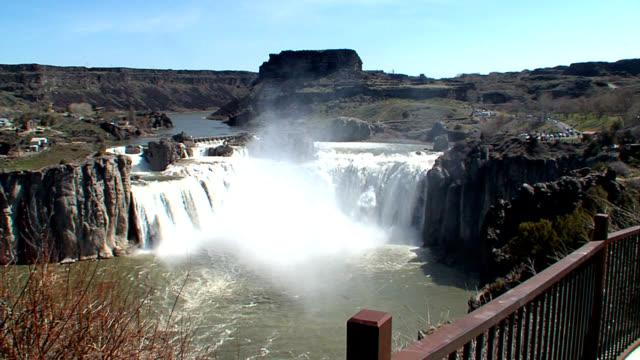 shoshone falls idaho - wide panning shot_002 - river snake stock videos & royalty-free footage