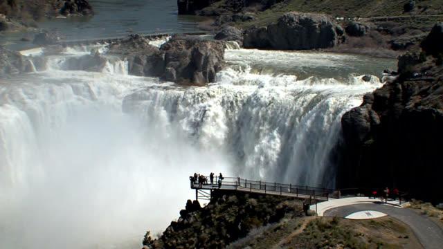 shoshone falls idaho - wide panning shot_003 - river snake stock videos & royalty-free footage