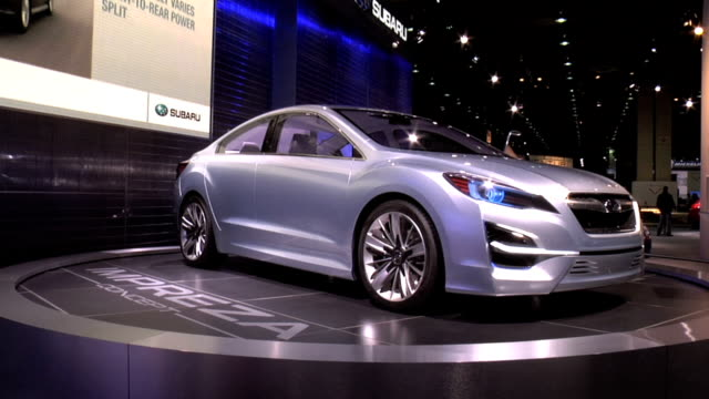 car on turntable / shot 2: rear end & license plate / shot 3: front end / shot 4: interior subaru impreza concept car montage at cobo hall on january... - subaru stock videos & royalty-free footage