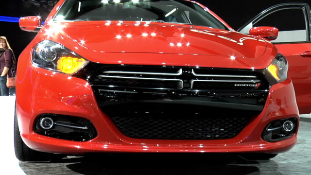 of dart on turntable / shot 2: rear end / shot 3: interior / shot 4: to front end / shot 5 cutaway dodge dart dodge dart r/t montage at cobo hall on... - cutaway video transition stock videos & royalty-free footage