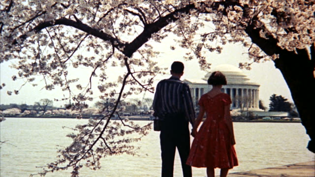 ms shot across water to jefferson memorial and people in foreground / washington d.c., united states - 1960 stock videos & royalty-free footage