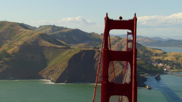 CU DS TD AERIAL Shot around Golden Gate Bridge / San Francisco, California, United States