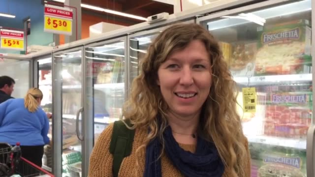 Shot at at HEB grocery store in Austin Texas SOT with HEB customer 31yearold Casey Moorland she works for Whole Earth Provision Company on their...