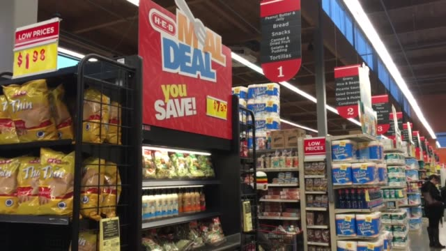 shot at at heb grocery store in austin texas sot with heb customer 31yearold casey moorland she works for whole earth provision company on their... - microwave meal stock videos & royalty-free footage