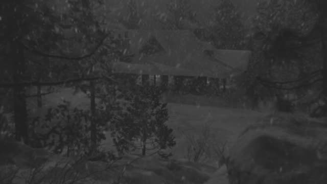 ms shot at mountain lodge through trees during snow falling and house covered in snow - cabin stock videos & royalty-free footage