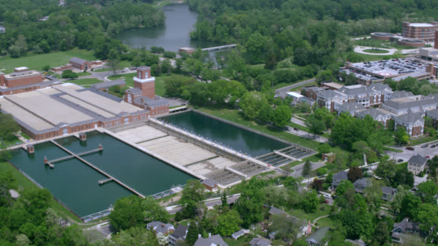 """ha ws aerial shot   dalecarlia reservoir and water treatment plant / washington dc, united states"" - reservoir stock videos and b-roll footage"