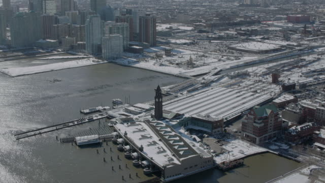 """ha pan aerial shot erie lackawanna railroad and ferry terminal / new york city, united states"" - ferry terminal stock videos & royalty-free footage"